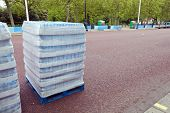 Pallet of water bottles ready for distribution