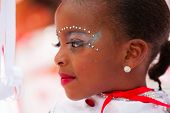 ROTTERDAM, THE NETHERLANDS - JULY 19, 2014, Young carnival dancer at the Summer Carnival street parade in Rotterdam on July 19 in Rotterdam, The Netherlands