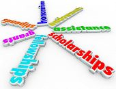 Scholarships words financial aid support stipends, grants, fellowships, honorariums