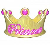 picture of spoiled brat  - Gold crown with word Princess in pink letters for a girl or woman who is royalty - JPG