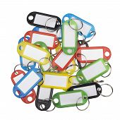 Plastic key tags of various colors