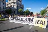 Madrid - JUN 7: Thousands of protesters have taken to the streets of Madrid to demand a referendum t