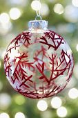 Closeup of red patterned Christmas bauble