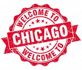 Welcome To Chicago Red Vintage Isolated Seal