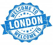 Welcome To London Blue Vintage Isolated Seal