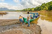 RURRENABAQUE, BOLIVIA, MAY 11, 2014 -  Wooden boat designed to transport tourists into jungle lodges