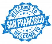 Welcome To San Francisco Blue Vintage Isolated Seal