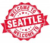 Welcome To Seattle Red Vintage Isolated Seal