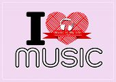 i love Music and Music is My Life word font type with signs idea design