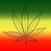 Cannabis leaf on rastafarian reggie flag background, horizontal.