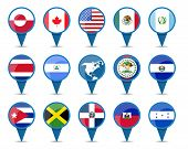 pic of state shapes  - National flags of north and central america states in sign shape design - JPG