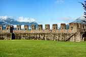 BELLINZONA, SWITZERLAND - JULY 4, 2014: Lawn and Ramparts at Castelgrande, Bellinzona. A UNESCO Worl
