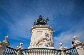 Bronze Statue Of King Jose I From 1775 On The Commerce Square, Lisbon