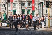 Business People Take Part In A Flash Mob In Milan, Italy