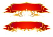 set of two red banners