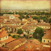 Grunge image of Lucca, old town in Tuscany. Italy.