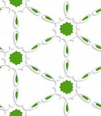 White Simple Flower Swirl With Green Inside Seamless Pattern