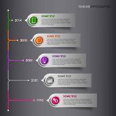 Time line info graphic colored striped template