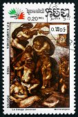 Postage Stamp Cambodia 1985 The Flood, By Michelangelo