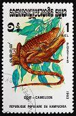 Postage Stamp Cambodia 1983 Chameleon, Lizard