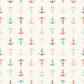 Seamless vector pattern of anchor shapes. Endless texture