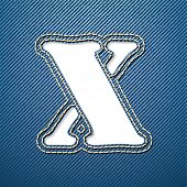 Denim jeans letter X - vector illustration
