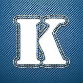 Denim jeans letter K - vector illustration