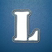 Denim jeans letter L - vector illustration