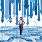 woman inside of glass bubble and finance background