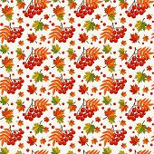 Autumn Pattern With Rowan Berries. Vector Seamless Background.