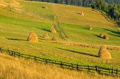 Fence And Haystack In Mountain