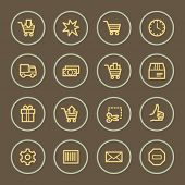 Shopping cart web icons set, coffee series
