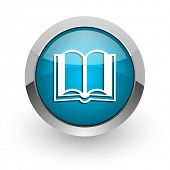 book blue glossy web icon