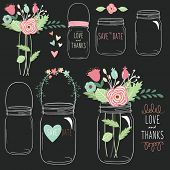 Hand Draw Chalkboard Wedding Flower Jar