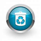 recycle blue glossy web icon