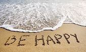 Be Happy Words Written On Beach Sand-positive Thinking Concept