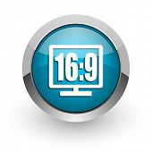 16 9 display blue glossy web icon