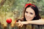 Snow White with Red Apple Fairy Tale Portrait