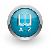 dictionary blue glossy web icon