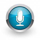 microphone blue glossy web icon