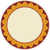 Thai Art Seamless Pattern Circle Frame