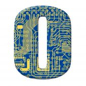 Digit From Electronic Circuit Board Alphabet On White Background - 0