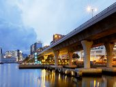 stock photo of hong kong bridge  - Highway bridge in Hong Kong city at sunset - JPG