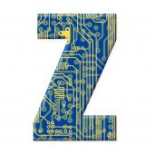 Letter From Electronic Circuit Board Alphabet On White Background