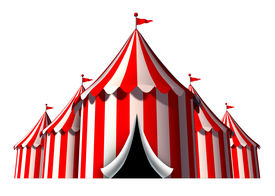 pic of circus tent  - Circus tent design element as a group of big top carnival tents with an opening entrance as a fun entertainment icon for a theatrical celebration or party festival isolated on a white background - JPG