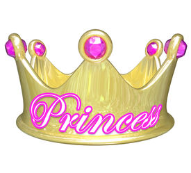 image of spoiled brat  - Gold crown with word Princess in pink letters for a girl or woman who is royalty - JPG