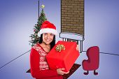 Young brunette with christmas present against purple vignette
