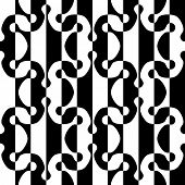 Abstract Regular Ornament. Seamless Black and White Background.