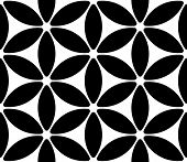 Abstract Flower Pattern. Seamless Black and White Background