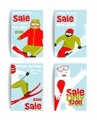 Mountain Skier Colorful Winter Sport Flyer Design Template